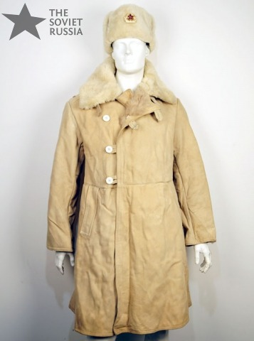 Russian Military Sheepskin Fur Long Coat Overcoat Pointsman Jacket ...